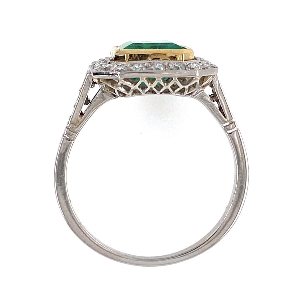 Platinum Art Deco Style 1.60ct Emerald & Halo .40tcw Diamond Ring 3.9g, s6.75