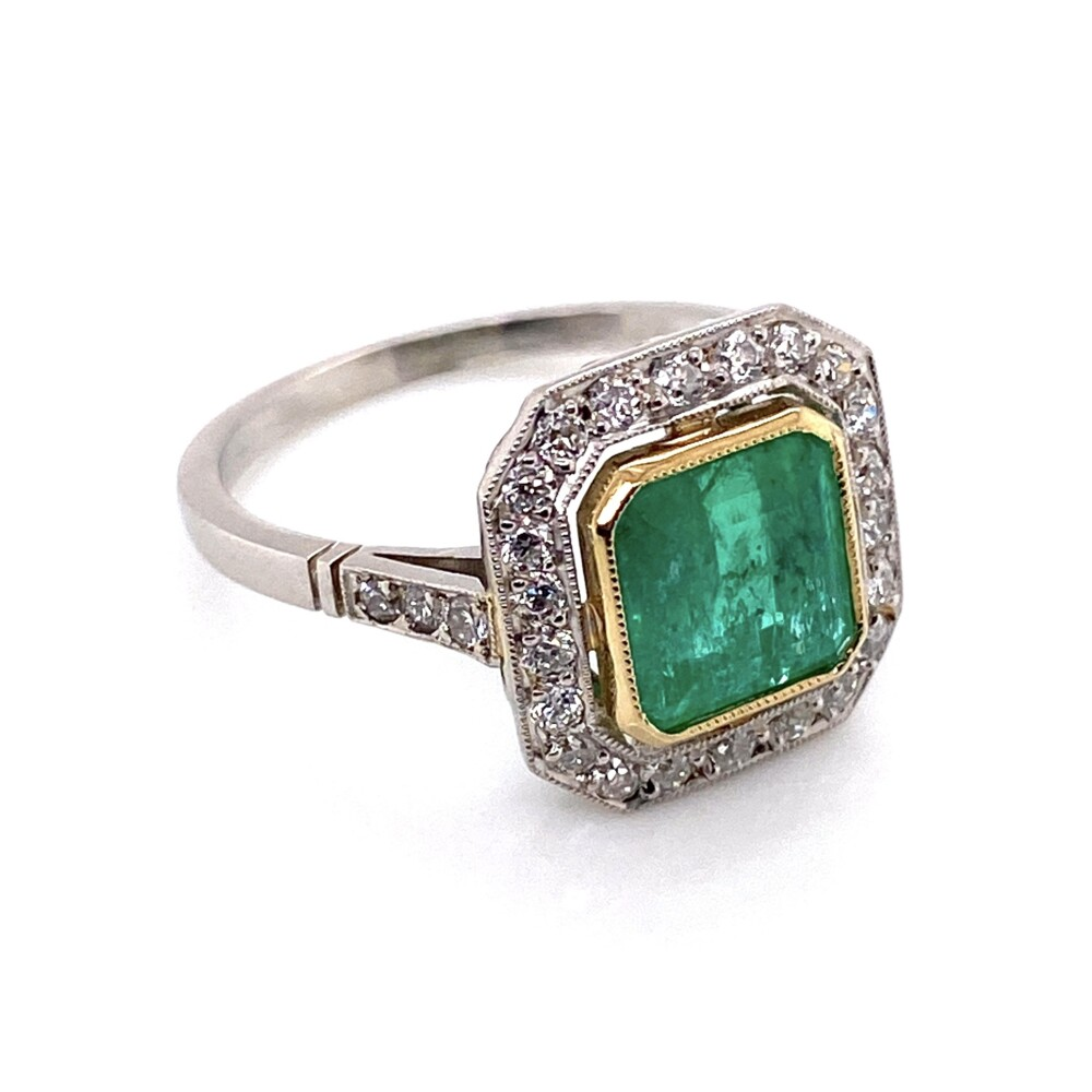 Image 2 for Platinum Art Deco Style 1.60ct Emerald & Halo .40tcw Diamond Ring 3.9g, s6.75
