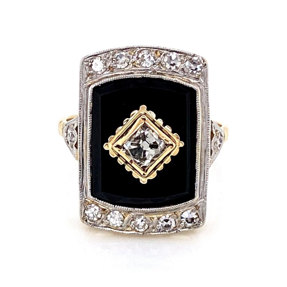 Image 2 for 18K 2tone Art Deco French Cut .60tcw Diamond & Onyx Slab Ring