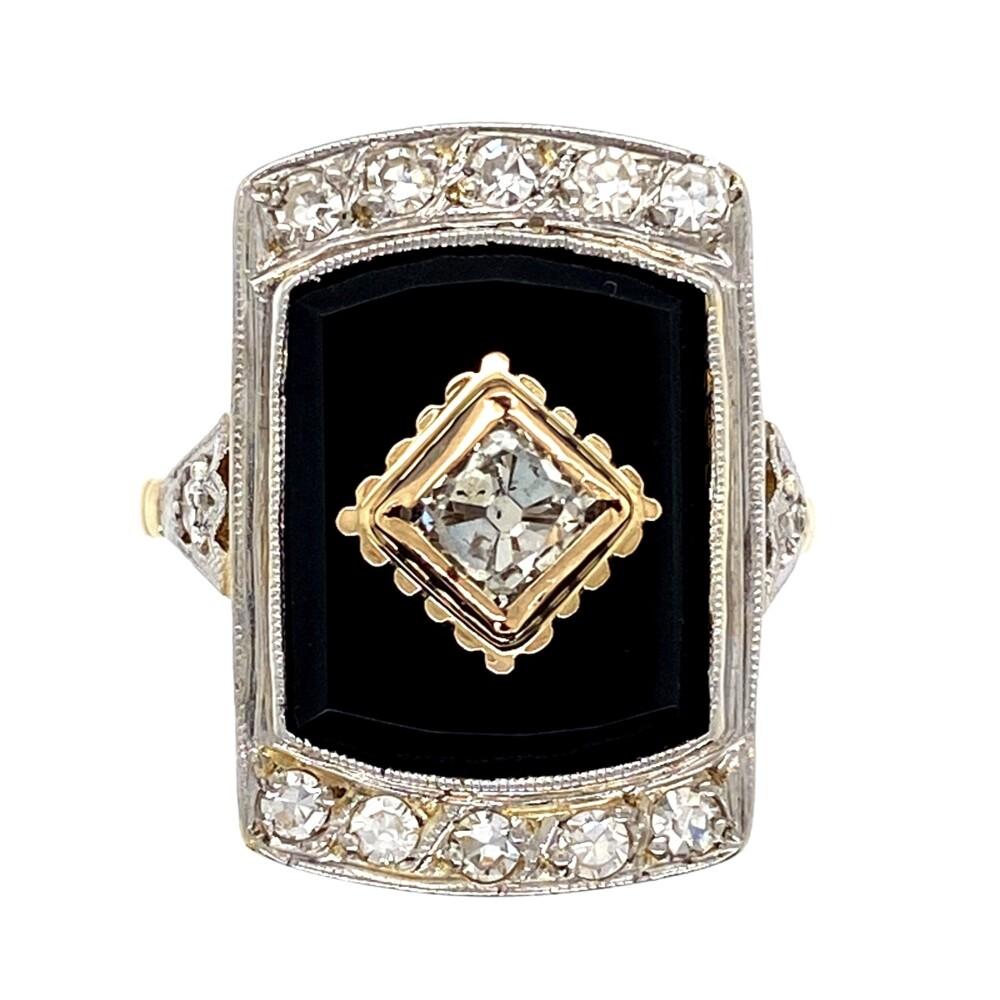 18K 2tone Art Deco French Cut .60tcw Diamond & Onyx Slab Ring