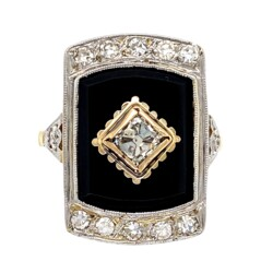Closeup photo of 18K 2tone Art Deco French Cut .60tcw Diamond & Onyx Slab Ring