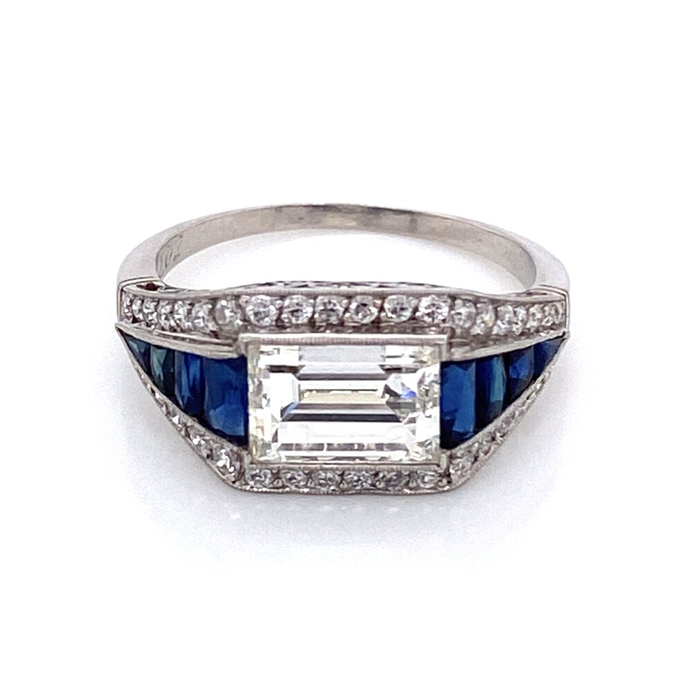 Image 2 for Platinum Art Deco 2.02ct Emerald Cut Diamond East-West Ring with Sapphires, s6.75