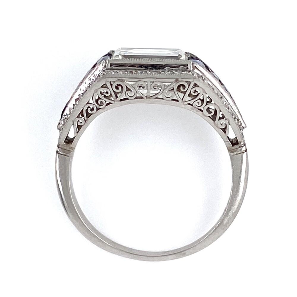 Platinum Art Deco 2.02ct Emerald Cut Diamond East-West Ring with Sapphires, s6.75
