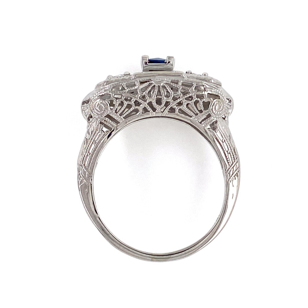 18K WG Art Deco Filigree Ring .20ct Sapphire & .18tcw Diamond Ring, s6