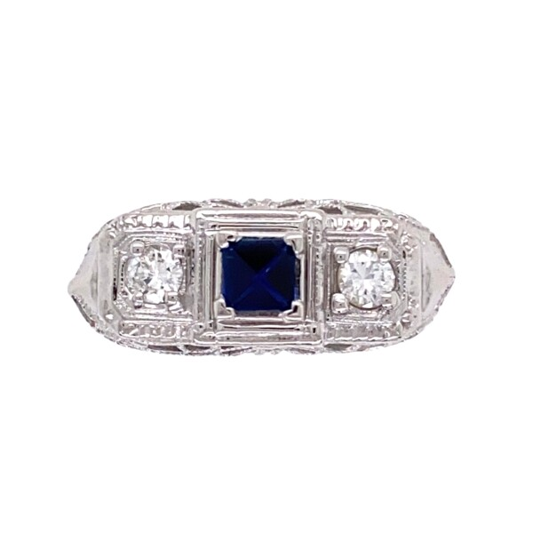 Closeup photo of 18K WG Art Deco Filigree Ring .20ct Sapphire & .18tcw Diamond Ring, s6