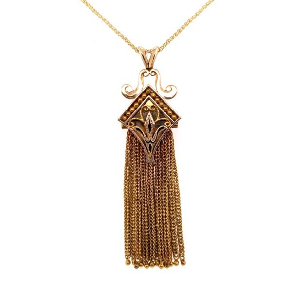 "Closeup photo of 14K YG Victorian Revival Tassel Necklace Black Enamel 12.5g, 18"" Chain"