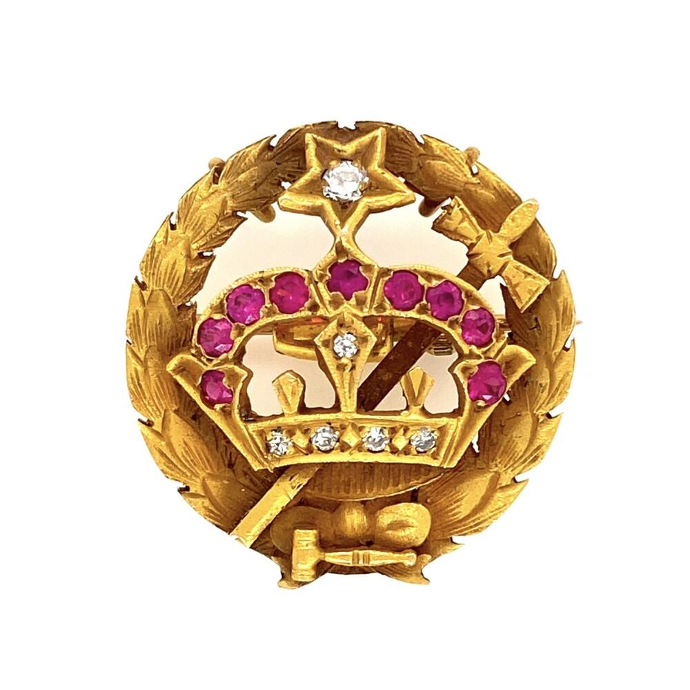 Image 2 for 14K YG Crown & Cross .11tcw Diamond & Syn. Ruby Brooch/Pendant 4.4g
