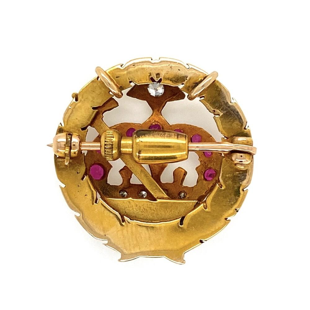 14K YG Crown & Cross .11tcw Diamond & Syn. Ruby Brooch/Pendant 4.4g