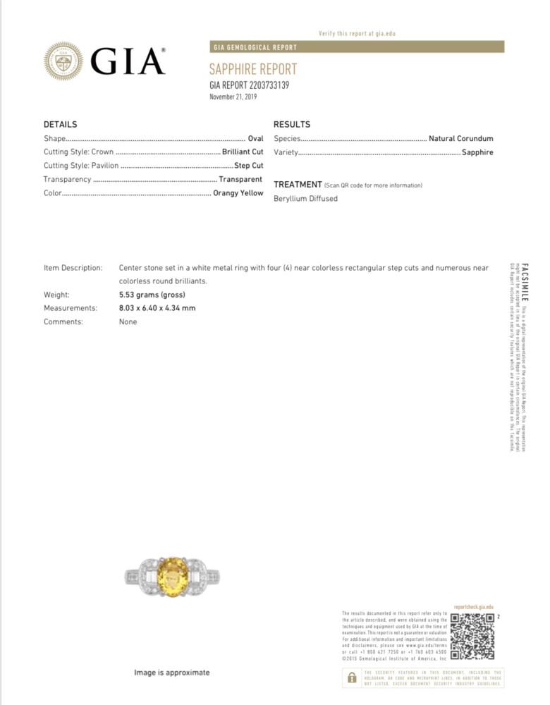 18K WG 1.75ct Oval Yellow Sapphire GIA & .50tcw Diamond Ring, 5.5g