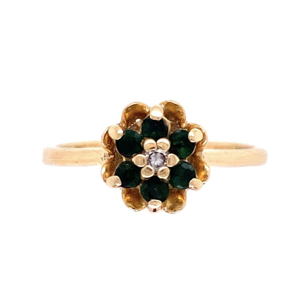 14K Yellow Gold Tulip Ring with .28tcw Emeralds & .01ct Diamond 2.5g, s5.75