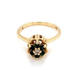 Closeup photo of 14K Yellow Gold Tulip Ring with .28tcw Emeralds & .01ct Diamond 2.5g, s5.75