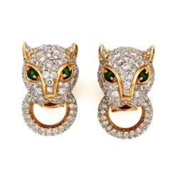 Closeup photo of 18K 2tone 7.00tcw Diamond Panther Door Knocker Earrings Cartier Style 17.7g