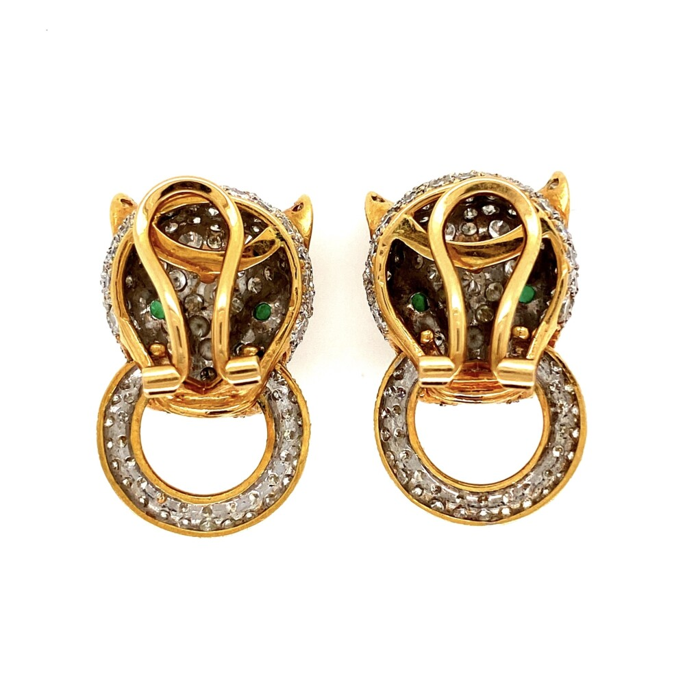 Image 2 for 18K 2tone 7.00tcw Diamond Panther Door Knocker Earrings Cartier Style 17.7g