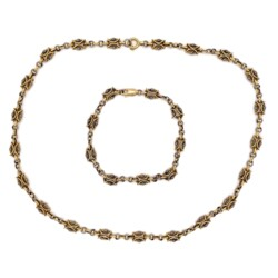 """Closeup photo of 18K & Platinum Fancy Link Chain Necklace & Bracelet 26.6g, 23"""""""