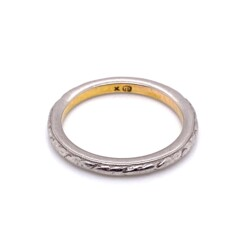 Closeup photo of Platinum on 20K Gold Art Deco Engraved Band Ring 3.1g, s4.75