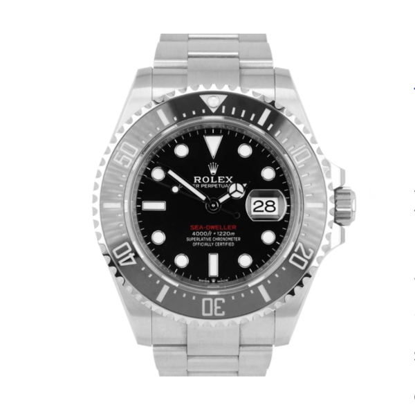 Closeup photo of Rolex 126600 BNIB Complete 43mm Stainless Steel Sea Dweller Red