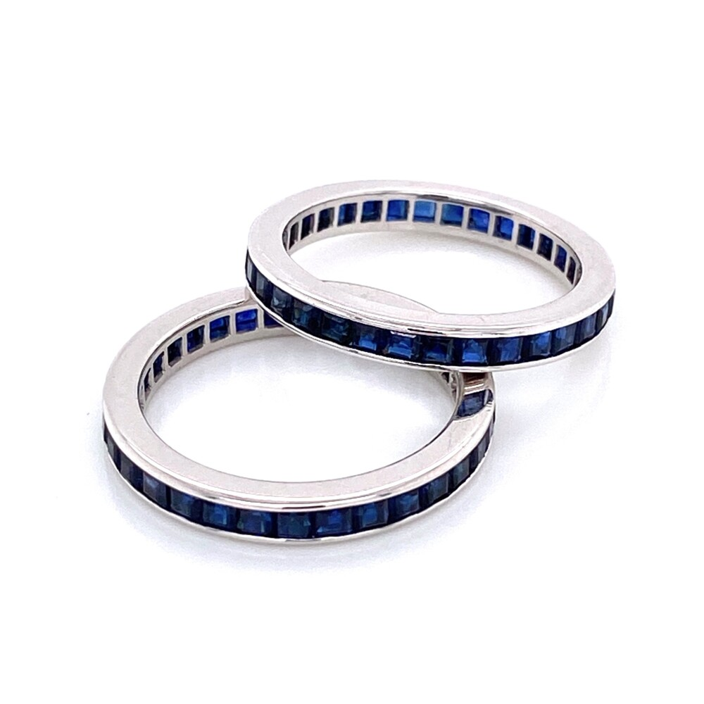 Pair of 14K WG Syn. Blue Sapphire Eternity Bands 4.2g, s6+