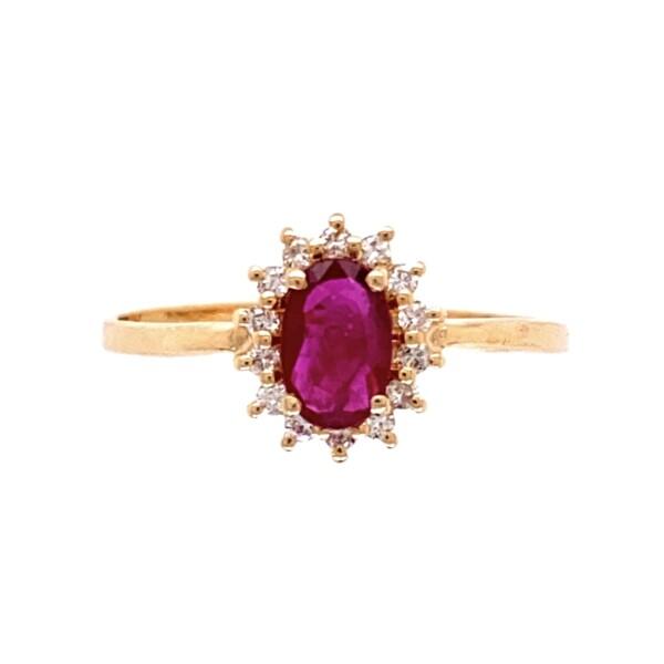 Closeup photo of 14K YG .50ct Oval Ruby & .10tcw Diamond Ring 1.7g, s8