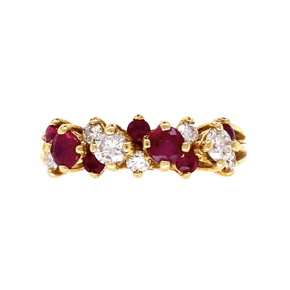 18K YG Fine .65tcw Ruby & .45tcw Diamond Cluster Band Ring 3.9g, s6.25
