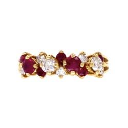 Closeup photo of 18K YG Fine .65tcw Ruby & .45tcw Diamond Cluster Band Ring 3.9g, s6.25