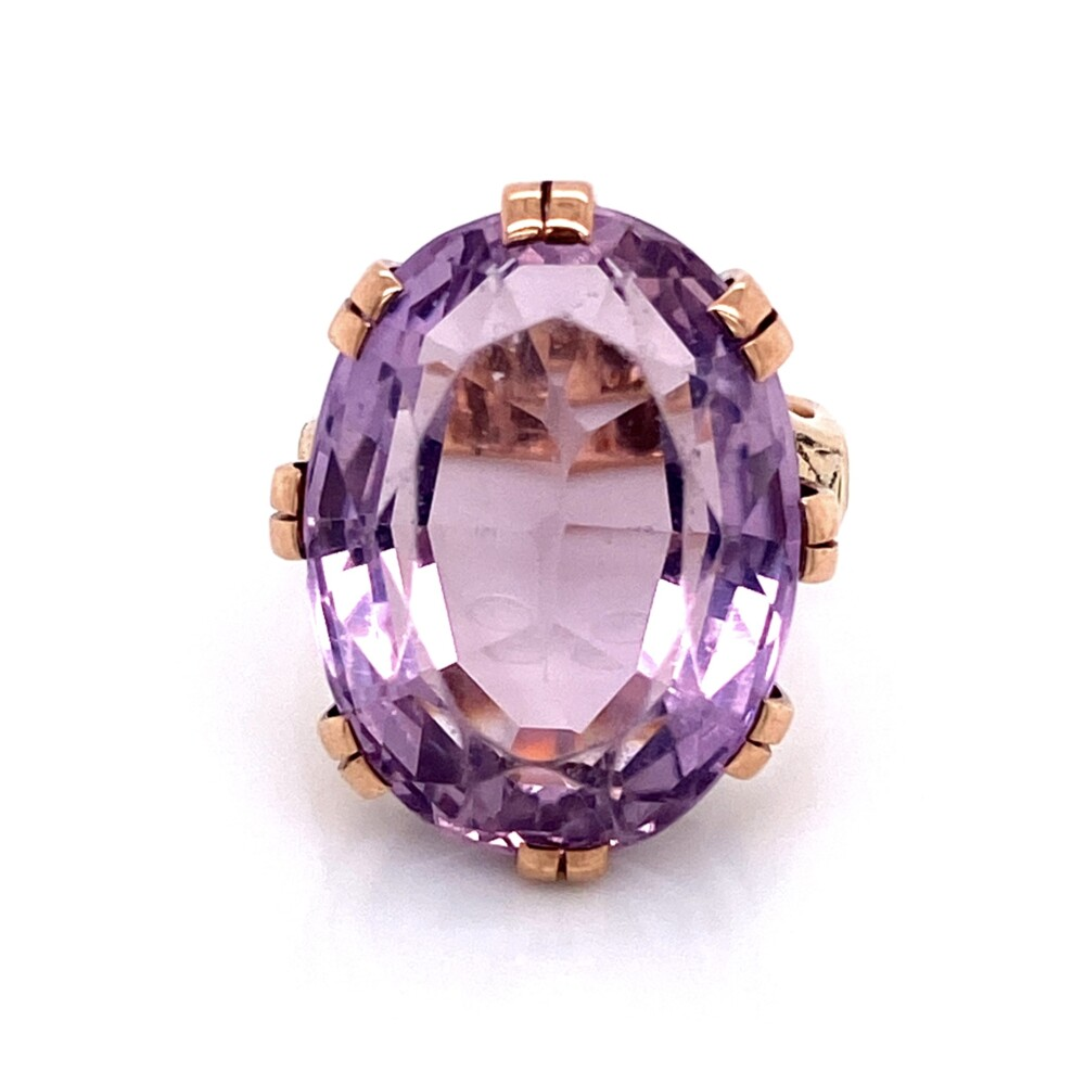 14K RG Victorian 18ct Oval Amethyst Engraved Ring 9.2g, s5