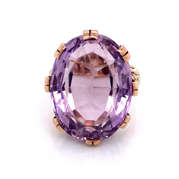 Closeup photo of 14K RG Victorian 18ct Oval Amethyst Engraved Ring 9.2g, s5