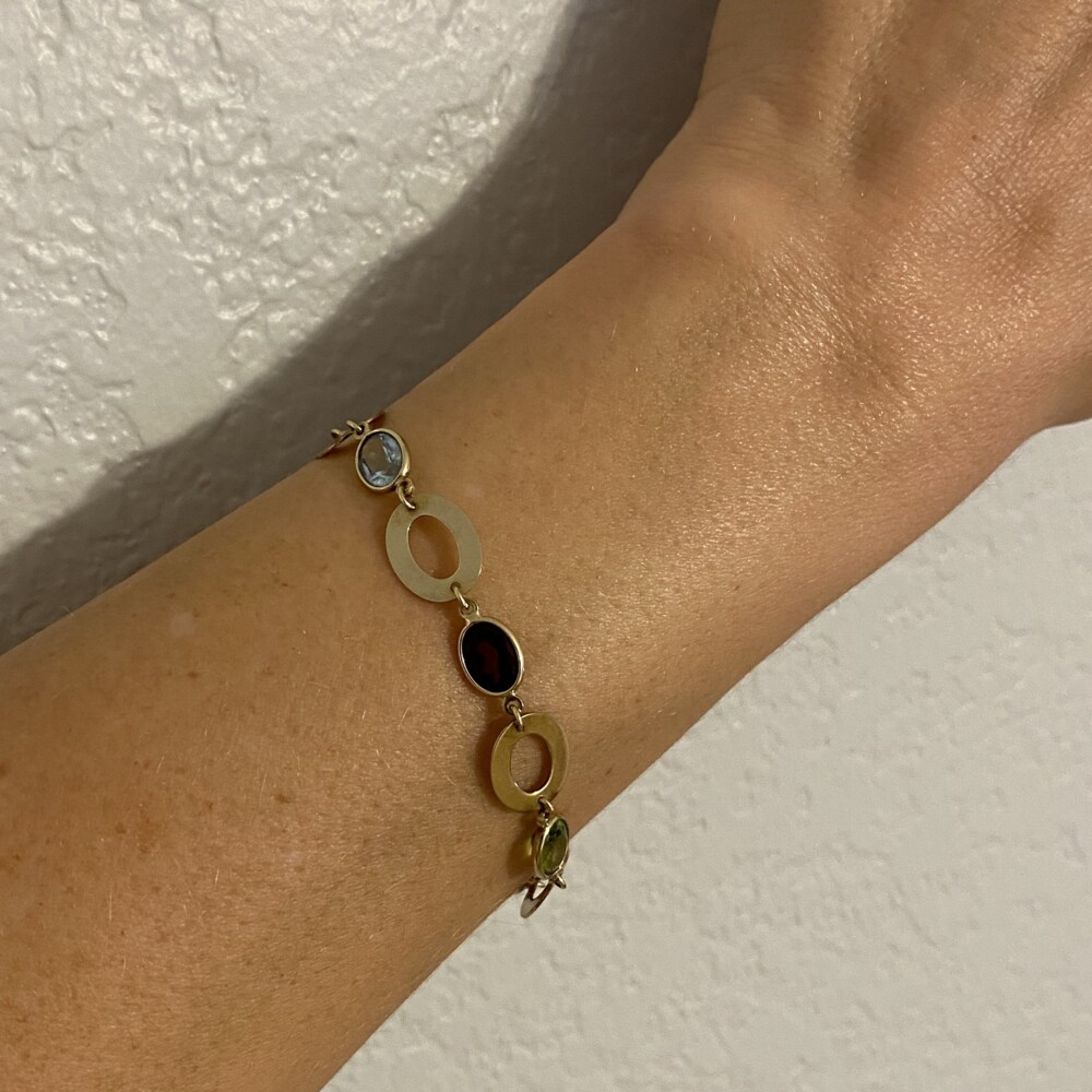"14K YG Italian Multi Gemstone Open Link Bracelet 6.5g, 7"""