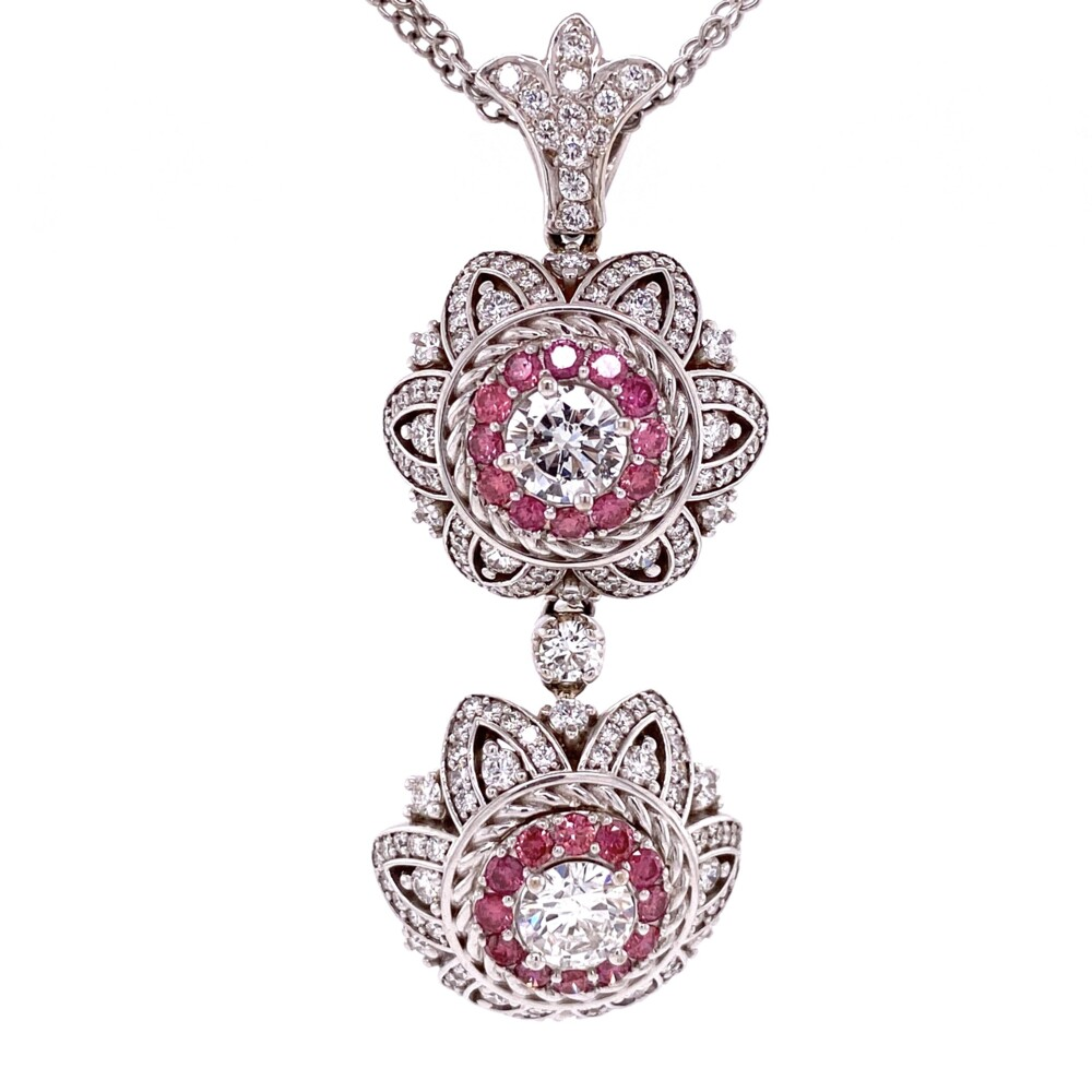 18K WG MAYOR'S Custom Double Drop Pendant White & Pink Diamonds 19.4g