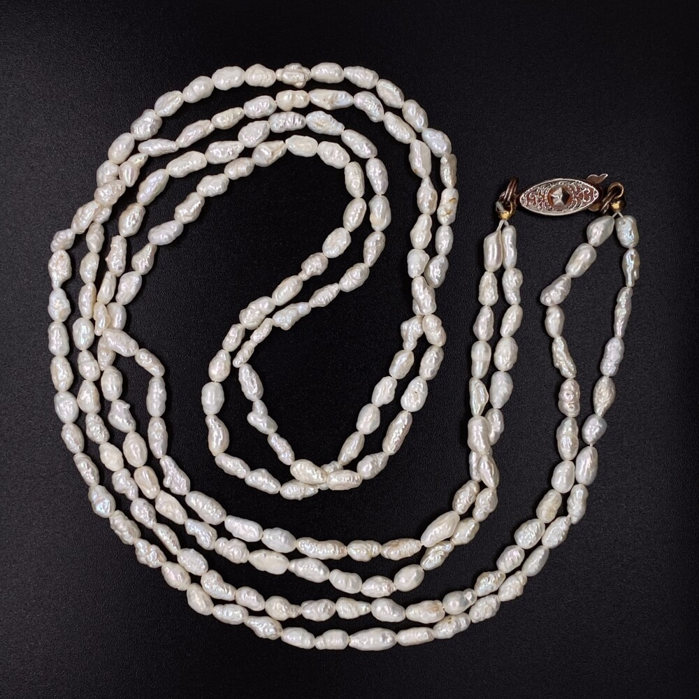 """Double Strand Freshwater Pearl Necklace, Base Metal Clasp, 24"""""""