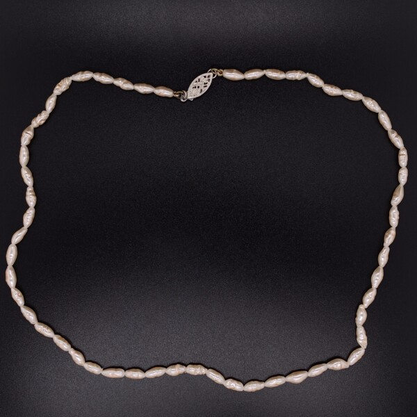 """Closeup photo of Single Strand Freshwater Pearl Necklace, 14K White Gold Clasp, 16"""""""