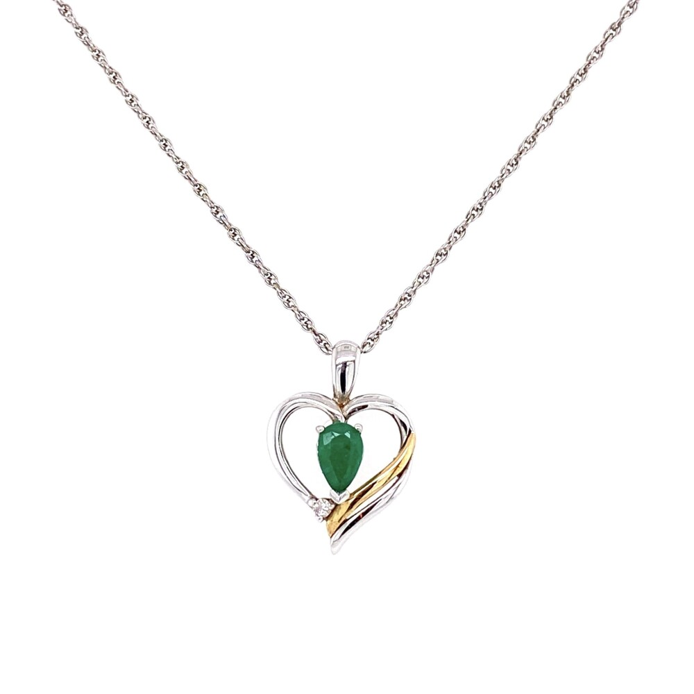925 & 14K Open Heart Necklace with Emerald & Diamond 2.5g, 18""