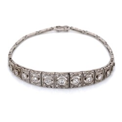 Closeup photo of Platinum Art Deco Graduated FIligree 1.55tcw Diamond Bracelet 16.1g, 7.25""