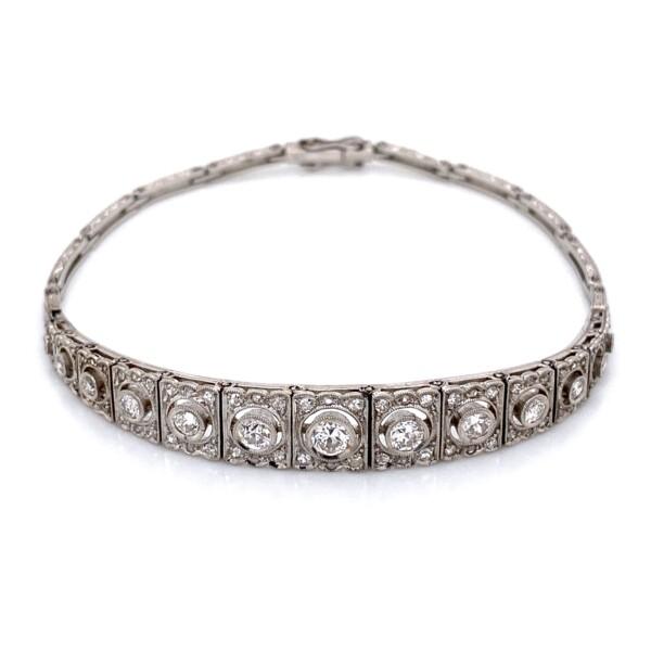 "Closeup photo of Platinum Art Deco Graduated FIligree 1.55tcw Diamond Bracelet 16.1g, 7.25"""