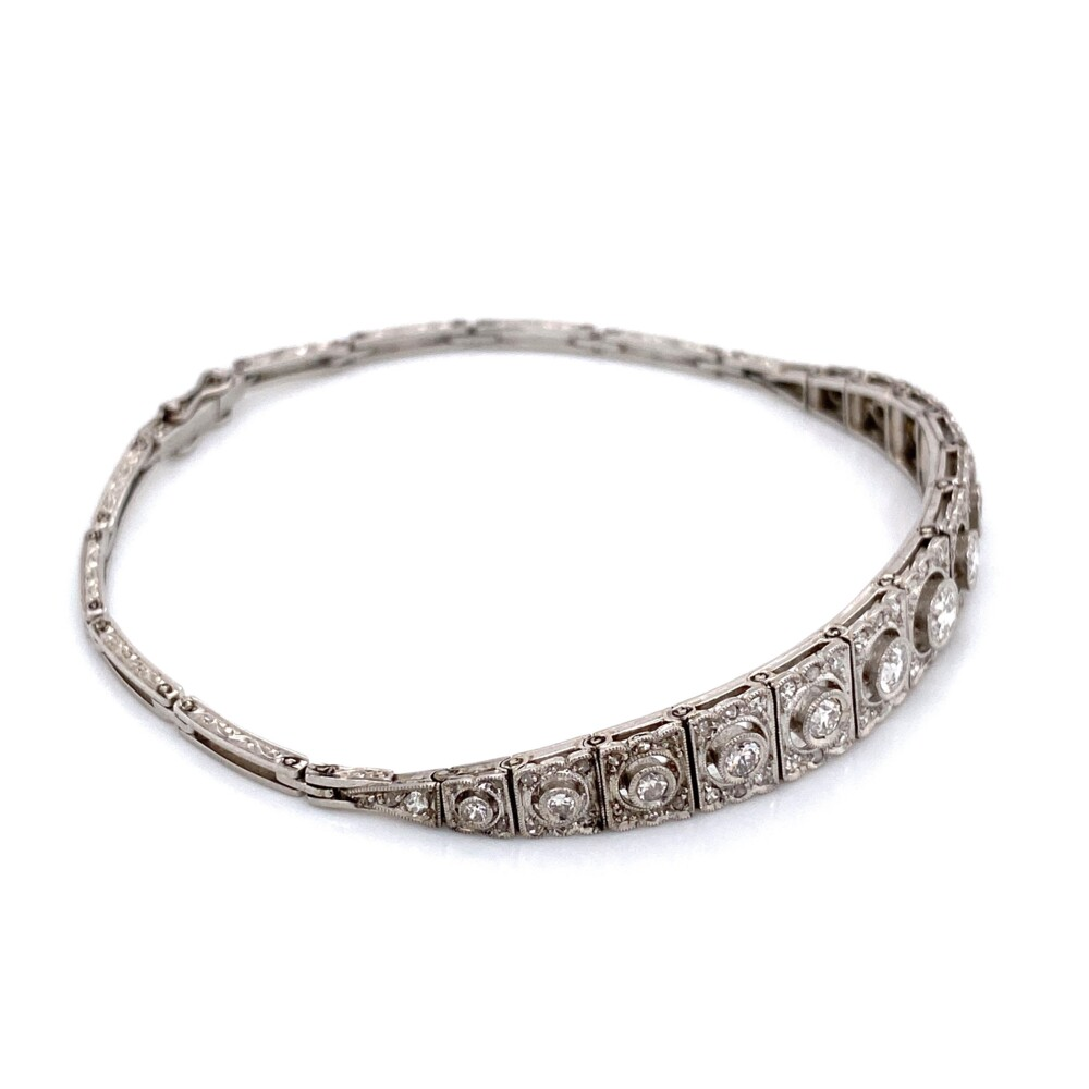 Image 3 for Platinum Art Deco Graduated FIligree 1.55tcw Diamond Bracelet 16.1g, 7.25""