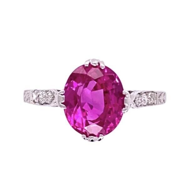 Closeup photo of Platinum Art Deco 2.55ct GIA Oval Pink Sapphire & Diamond Ring, 2.9g, s5.5