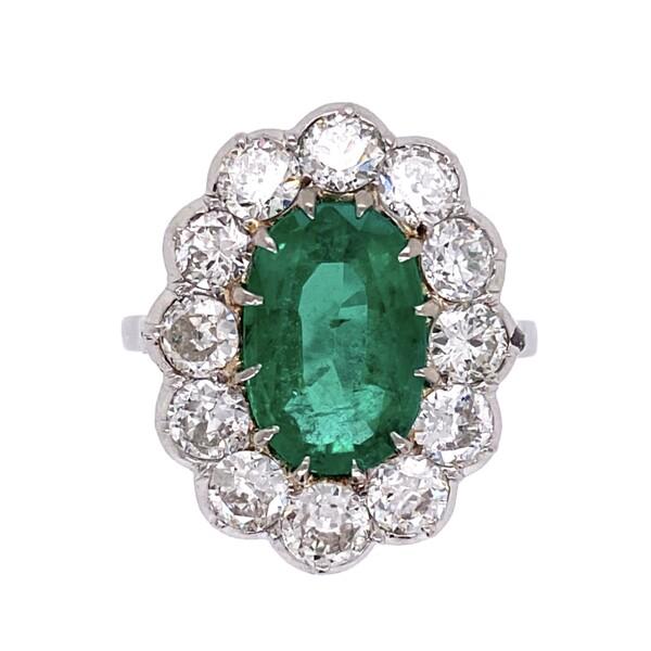 Closeup photo of Palladium Art Deco 2.50ct Oval Emerald & Diamond Ring 5.6g, s6.5