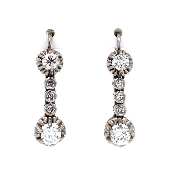 "Closeup photo of Platinum 1950s 1.60tcw Diamond Drop Earrings 7.6g, 1"""