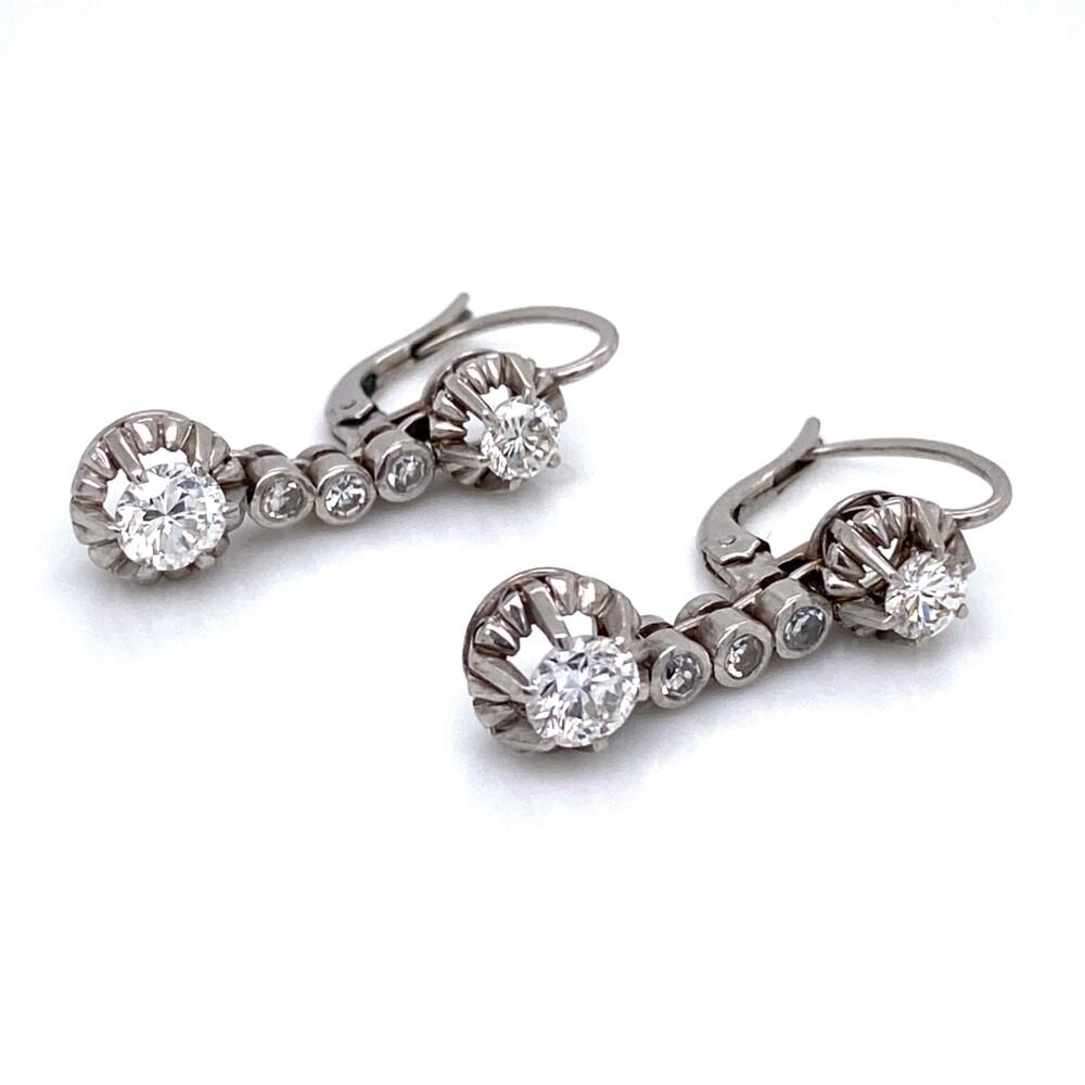 "Platinum 1950s 1.60tcw Diamond Drop Earrings 7.6g, 1"""