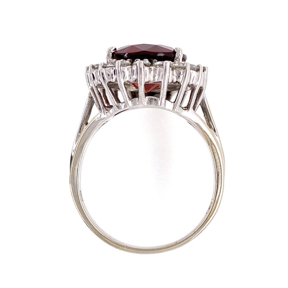 14K WG 7ct Orange Red Garnet & Diamond Ring 6.9g, s7.25