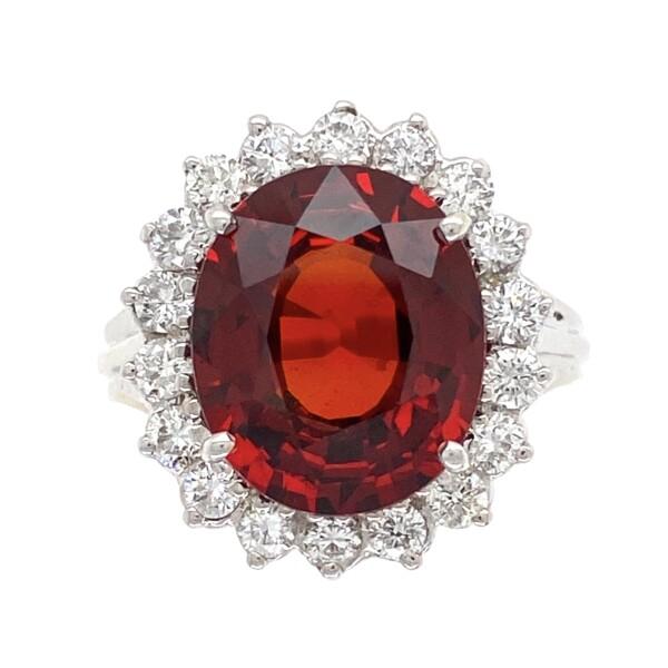 Closeup photo of 14K WG 7ct Orange Red Garnet & Diamond Ring 6.9g, s7.25