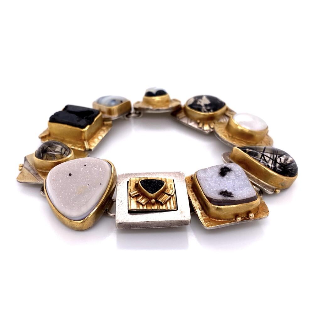 Image 2 for 18K & Sterling Sydney Lynch Gemstone Necklace & Bracelet Set 211.9g