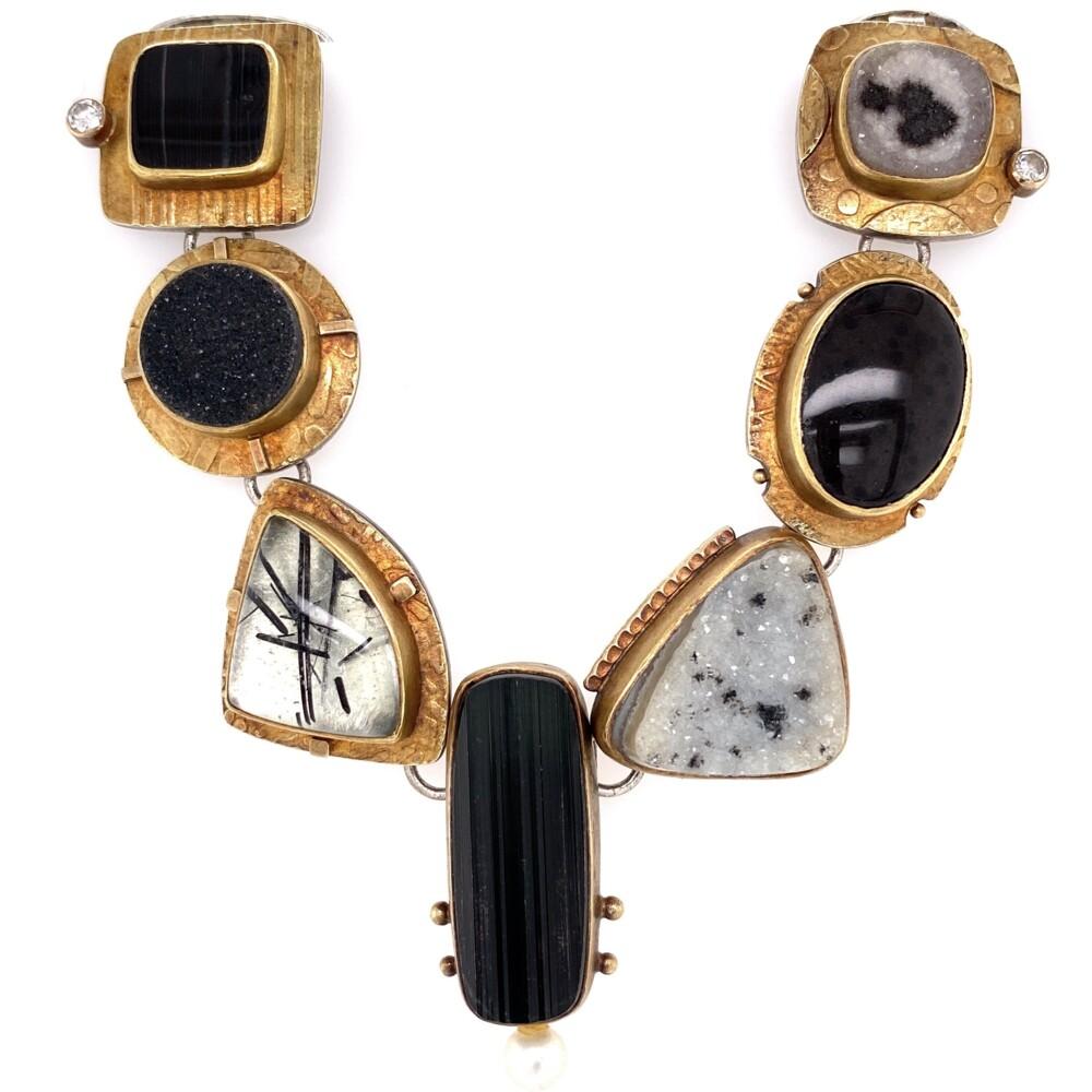 18K & Sterling Sydney Lynch Gemstone Necklace & Bracelet Set 211.9g