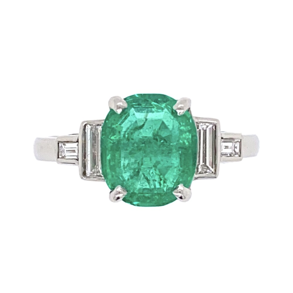 Platinum Art Deco 1.60ct Oval Emerald & Diamond Ring 4.6g, s6.75