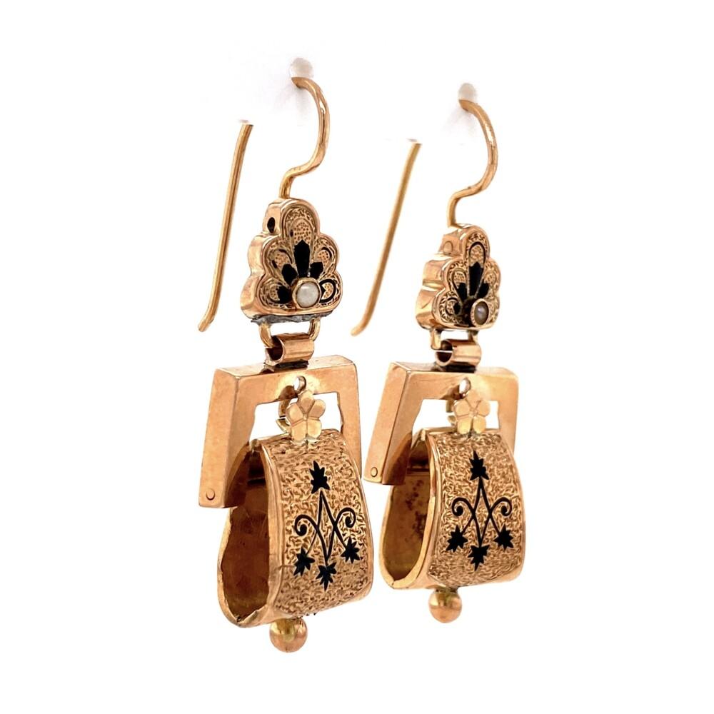 """Image 2 for 9K RG Victorian Enamel Earrings 5.1g, 1.5"""""""