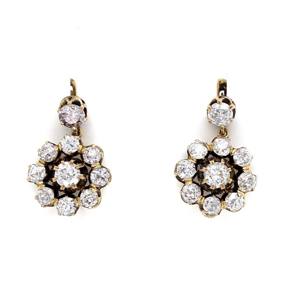 "14K YG Victorian 4.00tcw Diamond Cluster Earrings 7.3g, .75"" Diameter"