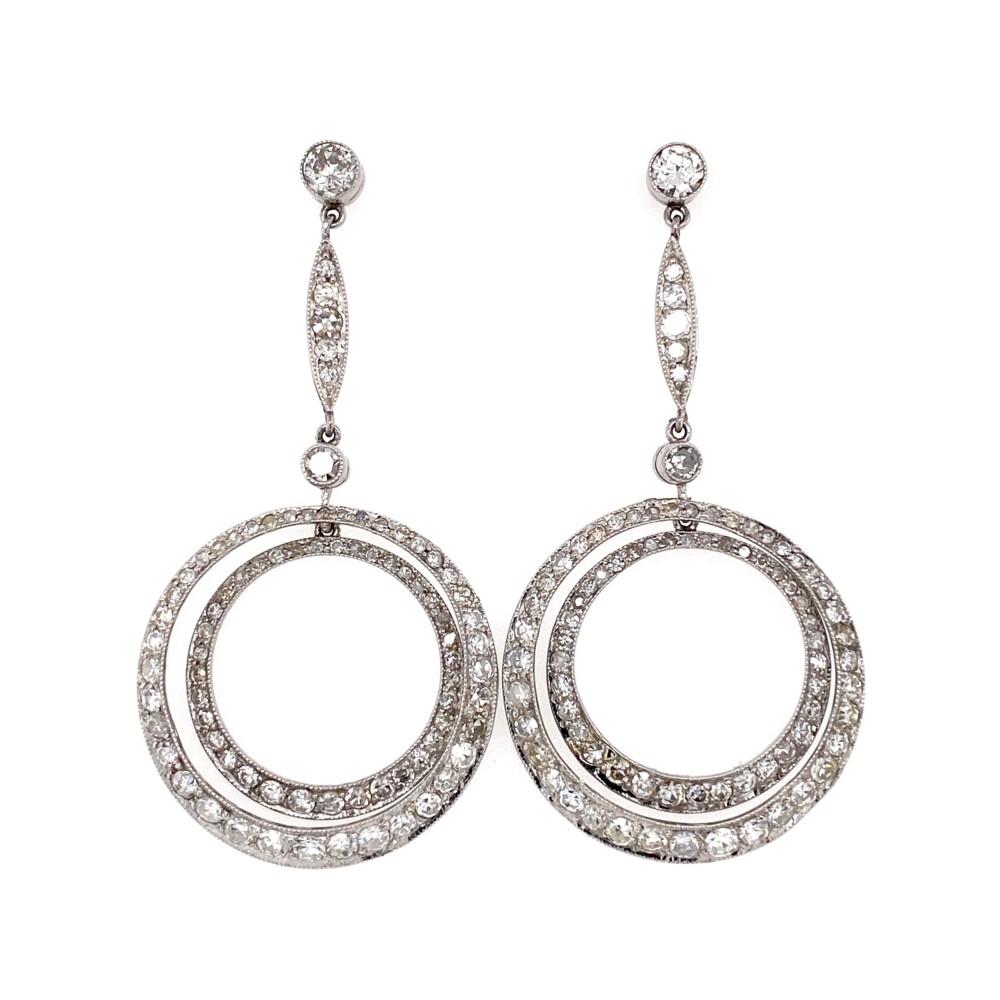 "Platinum Drop Double Circle 4.50tcw Diamond Earrings 10.5g, 2"""