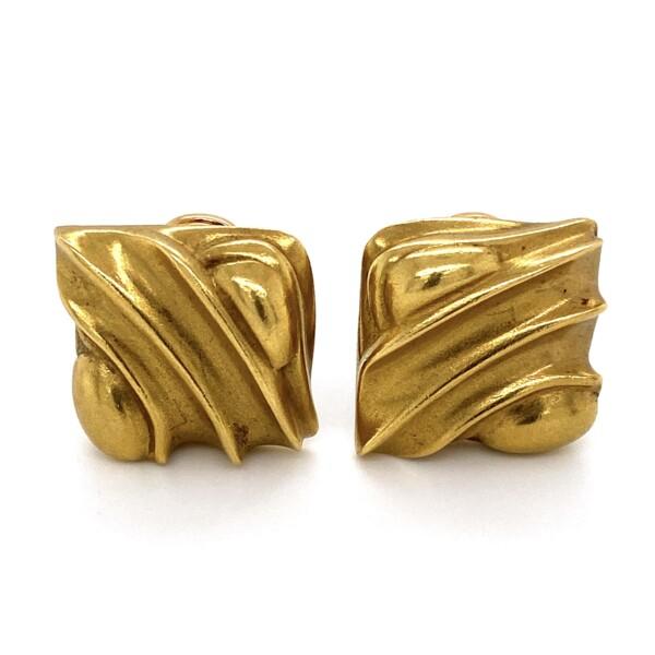 "Closeup photo of 18K YG KIESELSTEIN CORD Square Wave Earrings 19.6g, .75"""