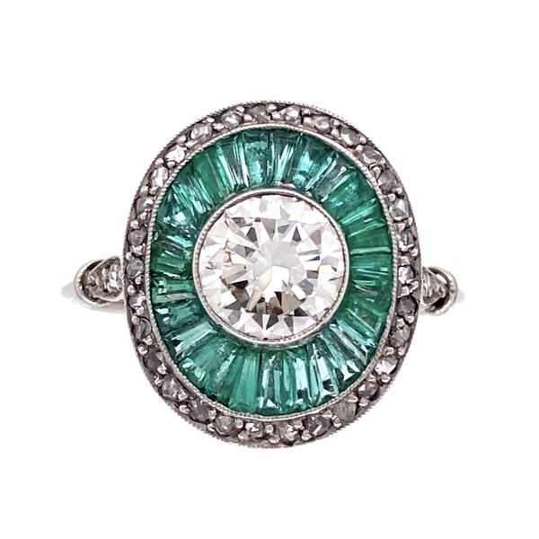 Closeup photo of Platinum Art Deco 1.71tcw Diamond & Emerald Ring 4.8g, s7.75