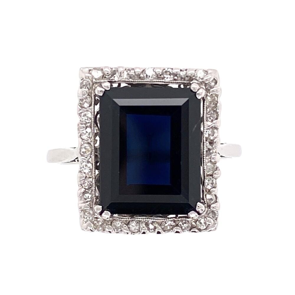 Platinum 6ct Dark Blue Sapphire & .20tcw Diamond Ring 4.8g, s6.5