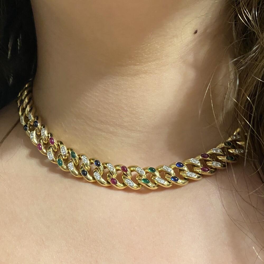 "14K YG Curb Link Rubies, Emeralds, Sapphires & Diamonds 93.3g, 17"""